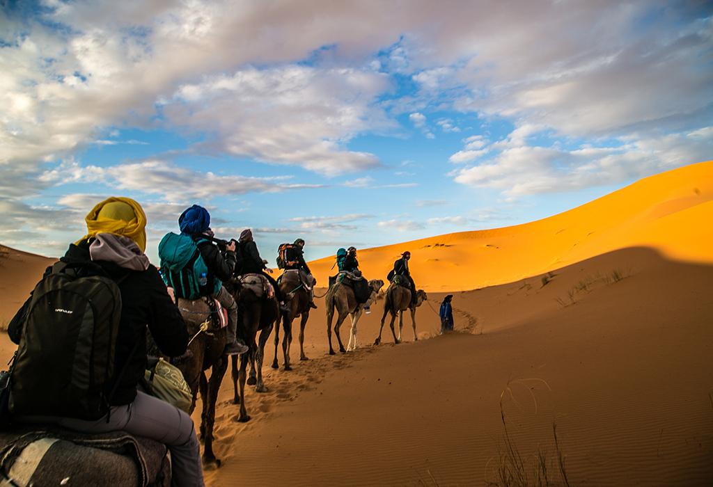 Marrakech to Fes Desert Tour camel trip at merzouga