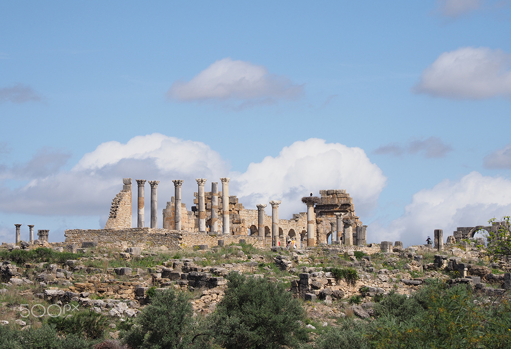 Famous ruins of ancient Roman and african city of Volubilis in Morocco near Meknes
